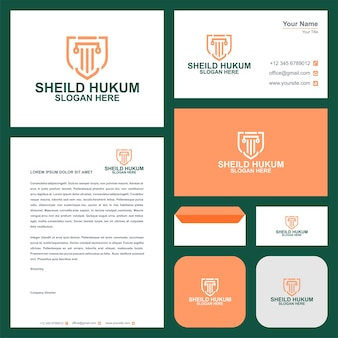 Law firm logo template and business card premium