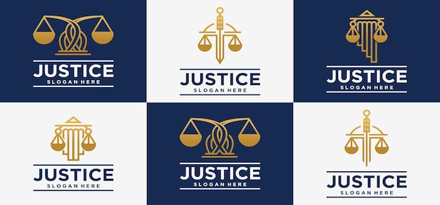 법률 사무소 로고 보편적 인 법률 변호사 정의 정의 골드 색상의 로고