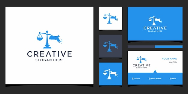 Law firm map with business card template
