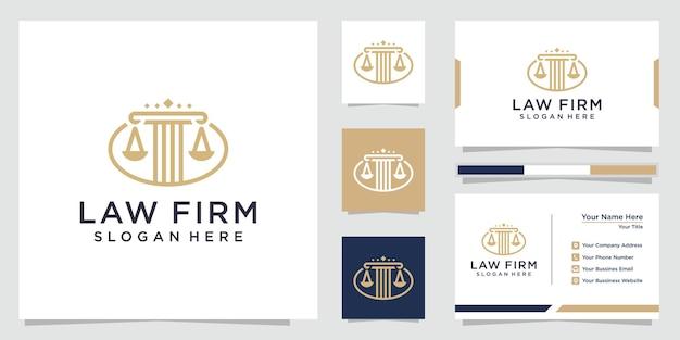Юридическая фирма столб логотип и дизайн визитной карточки