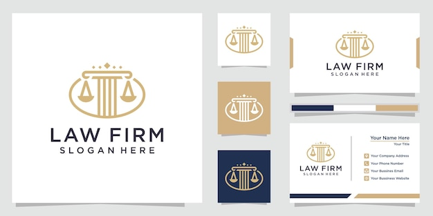 Law firm pillar logo and business card design
