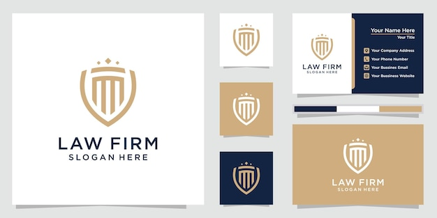 Law firm pillar logo with line art style luxury design and business card template.