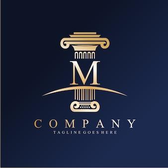 Юридическая фирма pillar m logo Premium векторы