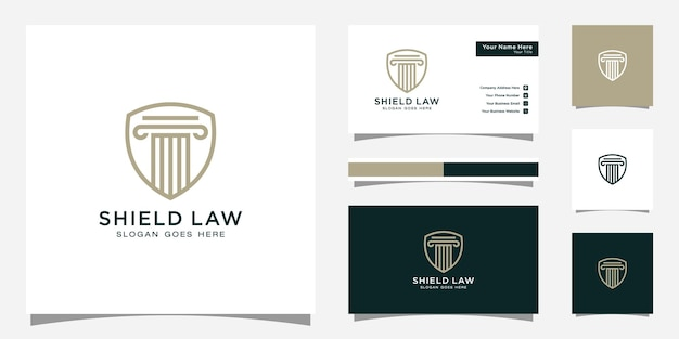 법률 사무소 방패 로고 디자인 및 명함