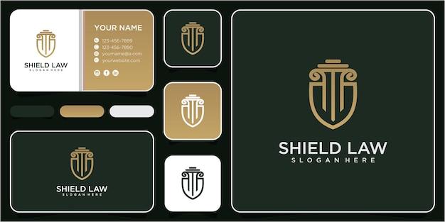 法律事務所の盾のロゴデザインのインスピレーション。シールド法のロゴデザインテンプレート。法律のロゴデザイン