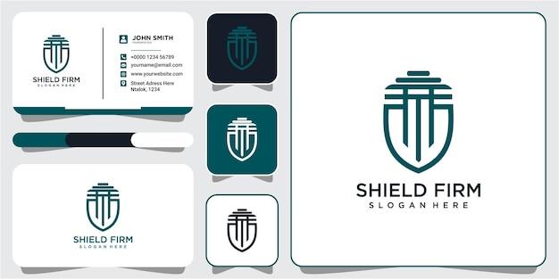 법률 사무소 방패 로고 디자인 벡터입니다. 명함이 있는 방패 법률 회사 로고 디자인 컨셉