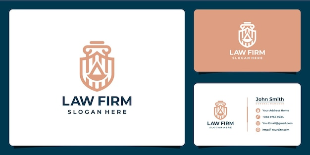 Law firm shield monoline luxury logo design and business card