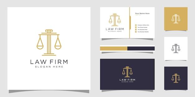 법률 사무소 템플릿 선형 스타일 회사 로고 및 명함