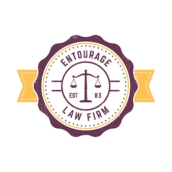 Law firm vintage round logo, law office sign, law firm vintage badge on white, illustration