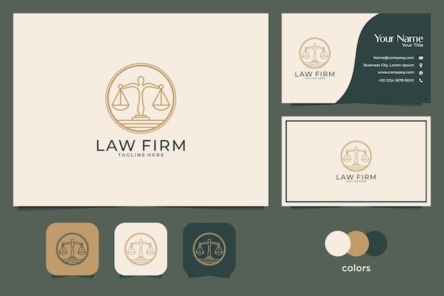 Юридическая фирма с дизайном логотипа в стиле лайн-арт и визитной карточкой