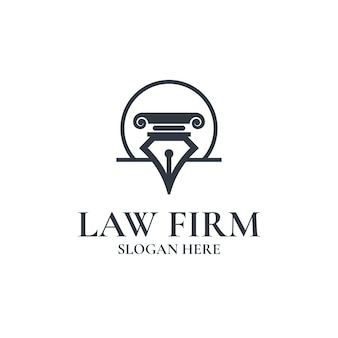 Law firm with pen design logo template