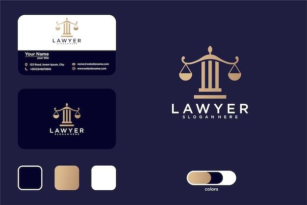 기둥 로고 디자인 및 명함이 있는 법률 회사