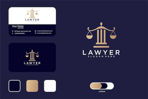 Law firm with pillar logo design and business card