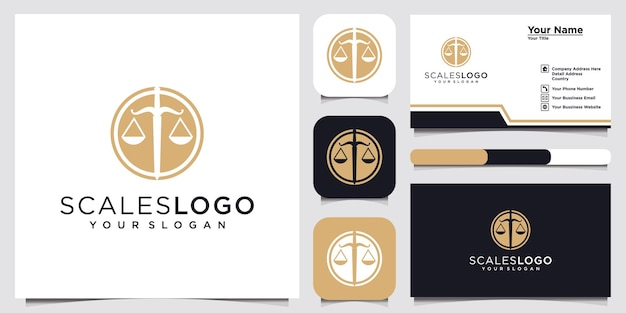 Law firm with scales logo and business card design