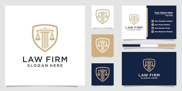 盾のロゴセットと名刺を持つ法律事務所