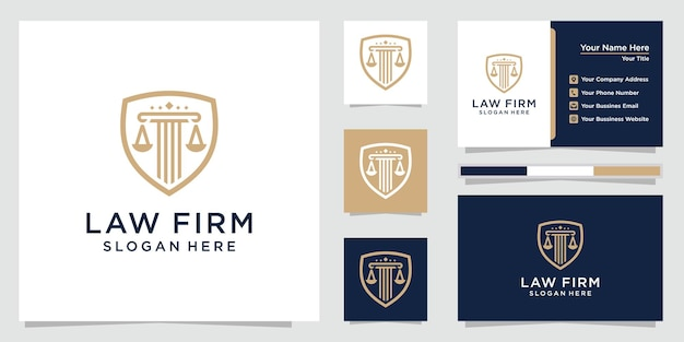 Law firm with shield logo set and business cards