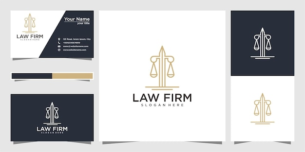 Law firm with sword logo design and business card