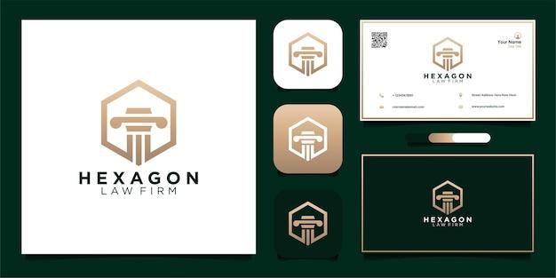 Law frim logo design and business card premium vector