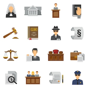 Law icons flat set