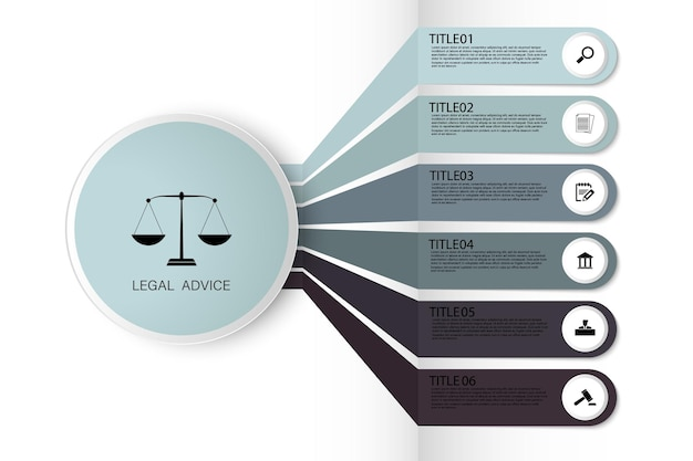 Law information for justice law verdict case legal gavel wooden hammer crime court auction. infographic