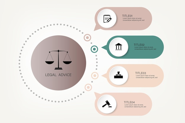 Law information for justice law verdict case legal gavel wooden hammer crime court auction symbol. infographic