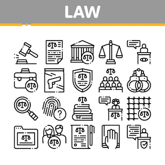 Law and judgement collection icons set
