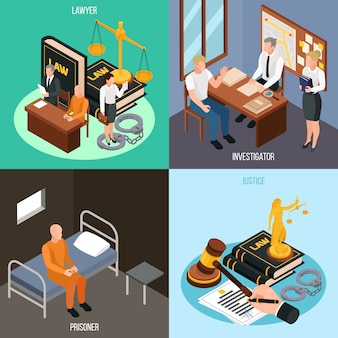 Law justice 4 isometric concept compositions with investigation convict prison cell court proceedings accessories isolated  illustration