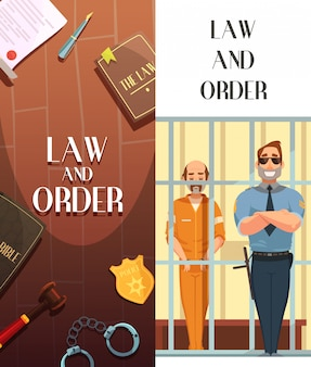 Law and justice cartoon banners set with convict in jail behind bars retro