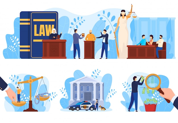 Law and justice concept, people in court, set of   illustrations