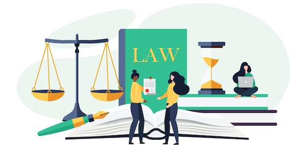 Law and justice concept. scales of justice, the building of the judge and the hammer of the judge. supreme court. in cartoon flat style