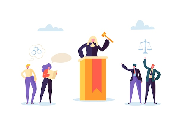 Law and justice concept with characters and judical elements, lawbook, lawyer. judg with gavel in courtroom and court jury people.