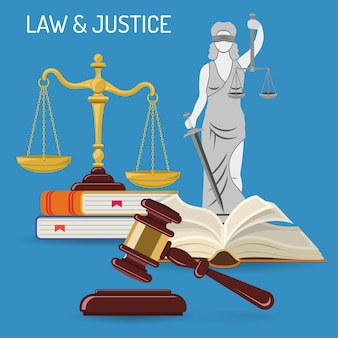 Law and justice concept with flat icons justice scales, judge gavel, lady justice, law books. isolated vector illustration