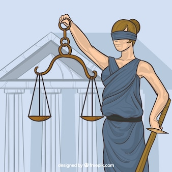 Law and justice concept with hand drawn style