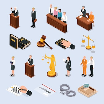Law justice court characters accessories isometric icons set with convict judge attorney hand on bible  illustration