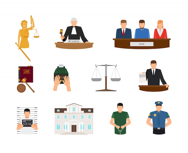 Law and justice court and punishment flat icons