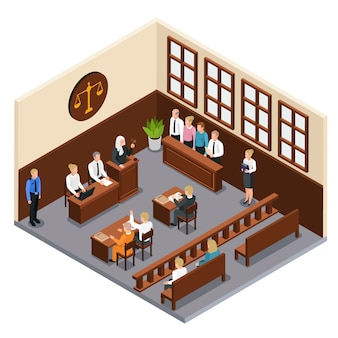 Law justice court trial isometric composition with courtroom interior defendant lawyer judge officer jury witnesses  illustration