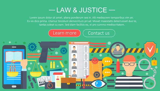 Law and justice design concept with prisoner and gun infographic template