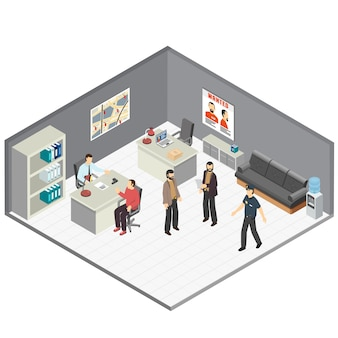 Law justice detectives office isometric composition with crime case investigators  interview witness reconstructing incident details vector illustration