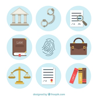 Law and justice element collection with flat design