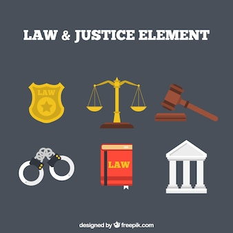Law and justice elements with flat design