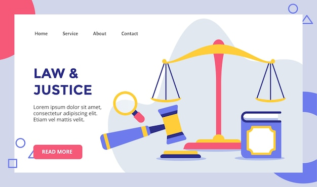 Law and justice equal scale for web website home homepage landing page template banner with modern flat style