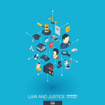 Law, justice integrated  web icons. digital network isometric interact concept. connected graphic  dot and line system. abstract background whith lawyer, crime and punishment.  infograph