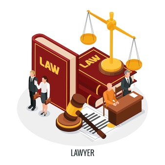 Law justice isometric composition with small people characters books of law gavel and golden weight vector illustration