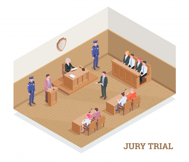 Law justice isometric composition with text and view of court room during session with human characters  illustration