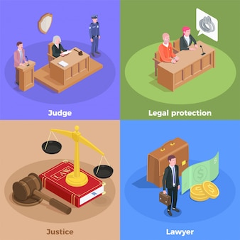 Concetto di progetto isometrico della giustizia di legge con i caratteri umani del amd delle icone dei partecipanti della sessione della corte con l'illustrazione del testo