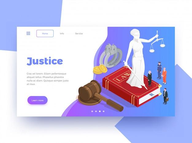 Il fondo isometrico di progettazione della pagina del sito web della giustizia di legge con impara più immagini cliccabili del bottone e l'illustrazione del testo