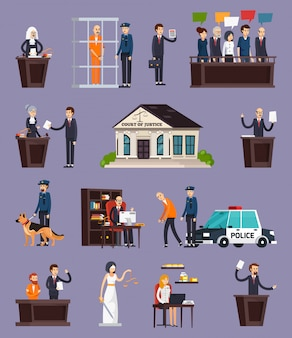 Law and justice orthogonal elements set Free Vector