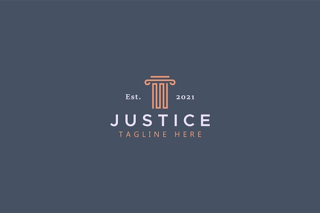 Law and justice pillar shape abstract logo.