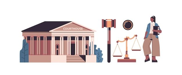 Law and justice set female lawyer and courthouse govel scales icons collection horizontal full length isolated vector illustration