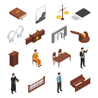 Law justice symbols isometric icons collection